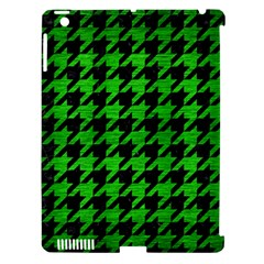 Houndstooth1 Black Marble & Green Brushed Metal Apple Ipad 3/4 Hardshell Case (compatible With Smart Cover) by trendistuff