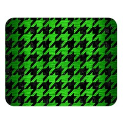 Houndstooth1 Black Marble & Green Brushed Metal Double Sided Flano Blanket (large)  by trendistuff