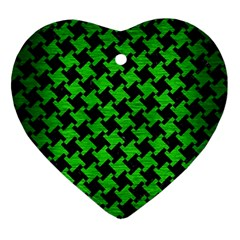 Houndstooth2 Black Marble & Green Brushed Metal Ornament (heart) by trendistuff