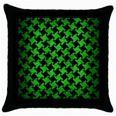 Houndstooth2 Black Marble & Green Brushed Metal Throw Pillow Case (black) by trendistuff