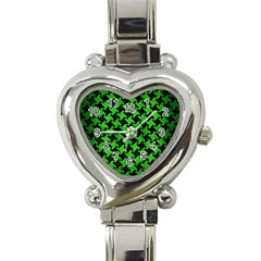 Houndstooth2 Black Marble & Green Brushed Metal Heart Italian Charm Watch by trendistuff