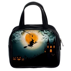 Halloween Landscape Classic Handbags (2 Sides) by Valentinaart
