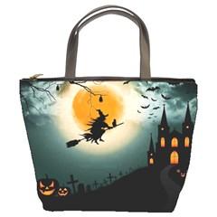 Halloween Landscape Bucket Bags by Valentinaart
