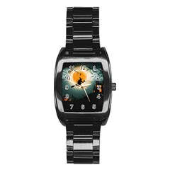 Halloween Landscape Stainless Steel Barrel Watch by Valentinaart