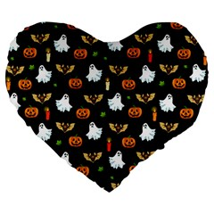 Halloween Pattern Large 19  Premium Heart Shape Cushions by Valentinaart