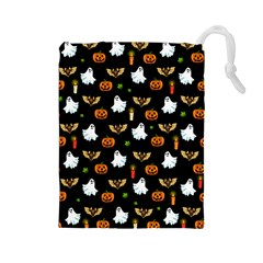Halloween Pattern Drawstring Pouches (large)  by Valentinaart