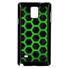 Hexagon2 Black Marble & Green Brushed Metal Samsung Galaxy Note 4 Case (black) by trendistuff