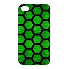 Hexagon2 Black Marble & Green Brushed Metal (r) Apple Iphone 4/4s Hardshell Case by trendistuff