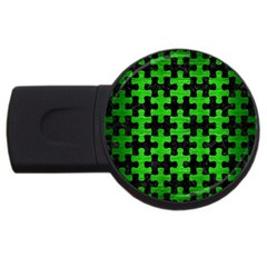 Puzzle1 Black Marble & Green Brushed Metal Usb Flash Drive Round (4 Gb) by trendistuff