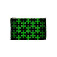 Puzzle1 Black Marble & Green Brushed Metal Cosmetic Bag (small)  by trendistuff