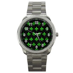 Royal1 Black Marble & Green Brushed Metal (r) Sport Metal Watch by trendistuff
