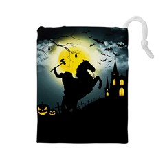 Headless Horseman Drawstring Pouches (large)  by Valentinaart