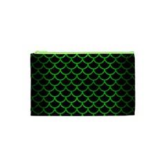 Scales1 Black Marble & Green Brushed Metal Cosmetic Bag (xs) by trendistuff