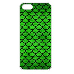 Scales1 Black Marble & Green Brushed Metal (r) Apple Iphone 5 Seamless Case (white) by trendistuff