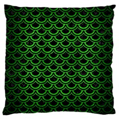 Scales2 Black Marble & Green Brushed Metal Large Cushion Case (one Side)