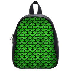 Scales3 Black Marble & Green Brushed Metal (r) School Bag (small) by trendistuff