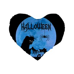 Halloween Standard 16  Premium Heart Shape Cushions by Valentinaart
