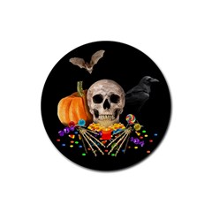 Halloween Candy Keeper Rubber Coaster (round)  by Valentinaart