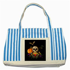 Halloween Candy Keeper Striped Blue Tote Bag by Valentinaart