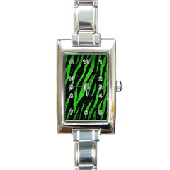Skin3 Black Marble & Green Brushed Metal Rectangle Italian Charm Watch by trendistuff