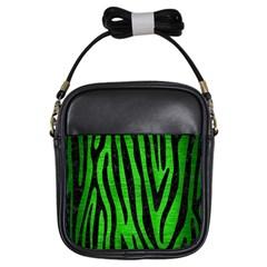 Skin4 Black Marble & Green Brushed Metal Girls Sling Bags by trendistuff