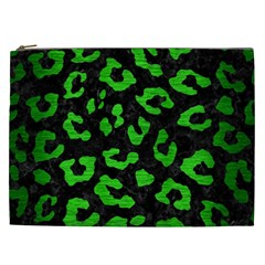 Skin5 Black Marble & Green Brushed Metal (r) Cosmetic Bag (xxl)