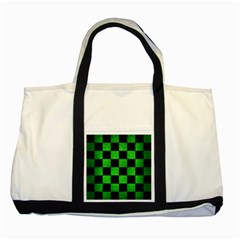Square1 Black Marble & Green Brushed Metal Two Tone Tote Bag by trendistuff