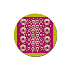 Going Gold Or Metal On Fern Pop Art Magnet 3  (round) by pepitasart