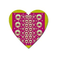 Going Gold Or Metal On Fern Pop Art Heart Magnet by pepitasart