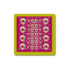 Going Gold Or Metal On Fern Pop Art Square Magnet by pepitasart