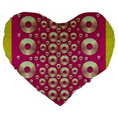 Going Gold Or Metal On Fern Pop Art Large 19  Premium Flano Heart Shape Cushions by pepitasart