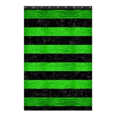 Stripes2 Black Marble & Green Brushed Metal Shower Curtain 48  X 72  (small)  by trendistuff