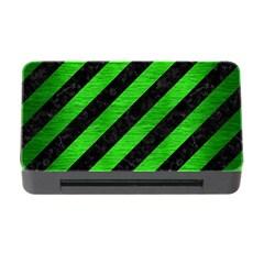 Stripes3 Black Marble & Green Brushed Metal Memory Card Reader With Cf by trendistuff