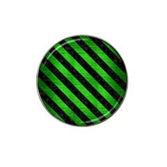 Stripes3 Black Marble & Green Brushed Metal (r) Hat Clip Ball Marker (4 Pack)
