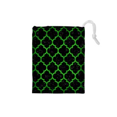 Tile1 Black Marble & Green Brushed Metal Drawstring Pouches (small)  by trendistuff
