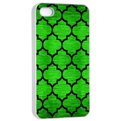 Tile1 Black Marble & Green Brushed Metal (r) Apple Iphone 4/4s Seamless Case (white) by trendistuff