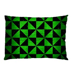 Triangle1 Black Marble & Green Brushed Metal Pillow Case by trendistuff
