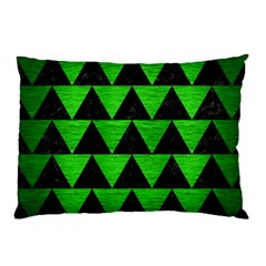 Triangle2 Black Marble & Green Brushed Metal Pillow Case by trendistuff