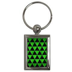 Triangle3 Black Marble & Green Brushed Metal Key Chains (rectangle)  by trendistuff