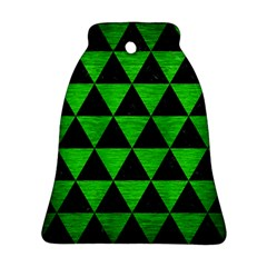 Triangle3 Black Marble & Green Brushed Metal Bell Ornament (two Sides) by trendistuff