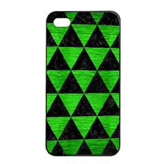 Triangle3 Black Marble & Green Brushed Metal Apple Iphone 4/4s Seamless Case (black) by trendistuff