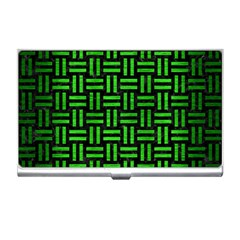 Woven1 Black Marble & Green Brushed Metal Business Card Holders by trendistuff