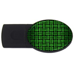 Woven1 Black Marble & Green Brushed Metal Usb Flash Drive Oval (2 Gb) by trendistuff