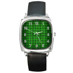 Woven1 Black Marble & Green Brushed Metal (r) Square Metal Watch by trendistuff
