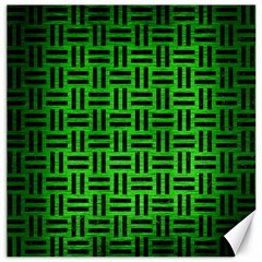 Woven1 Black Marble & Green Brushed Metal (r) Canvas 16  X 16   by trendistuff