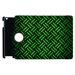 Woven2 Black Marble & Green Brushed Metal Apple Ipad 3/4 Flip 360 Case by trendistuff