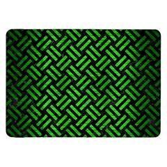 Woven2 Black Marble & Green Brushed Metal Samsung Galaxy Tab 8 9  P7300 Flip Case by trendistuff