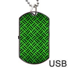 Woven2 Black Marble & Green Brushed Metal (r) Dog Tag Usb Flash (one Side) by trendistuff