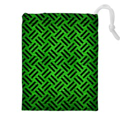 Woven2 Black Marble & Green Brushed Metal (r) Drawstring Pouches (xxl) by trendistuff