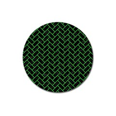 Brick2 Black Marble & Green Colored Pencil Magnet 3  (round) by trendistuff